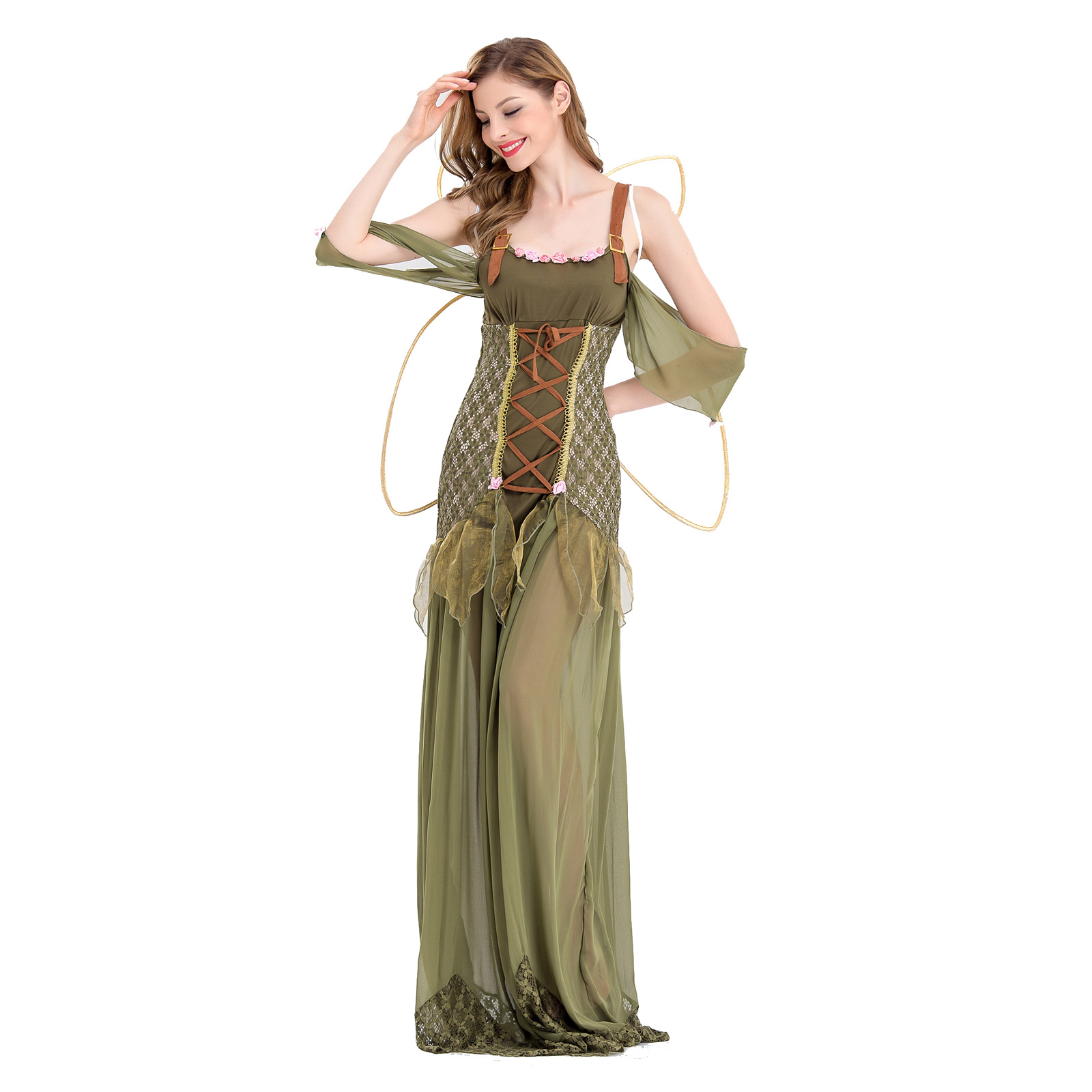 Halloween Adult green Elf costume flower fairy long dress role play costume butterfly angel photo Costume