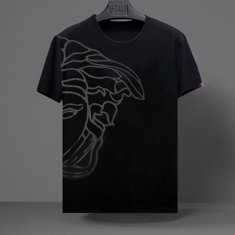 欧洲站美杜莎印花丝光棉短袖T恤男夏季潮牌个性时尚大码半袖体恤