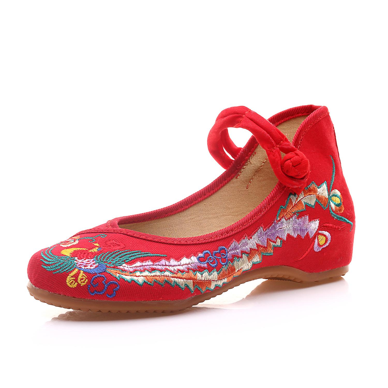 婚鞋女单鞋原创绣花鞋古风汉服红色老北京布鞋跳舞鞋牛津底舞蹈鞋