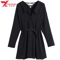 大码女装时尚衬衫领胖MM显瘦纯色遮肉韩版宽松2020秋季新款上衣