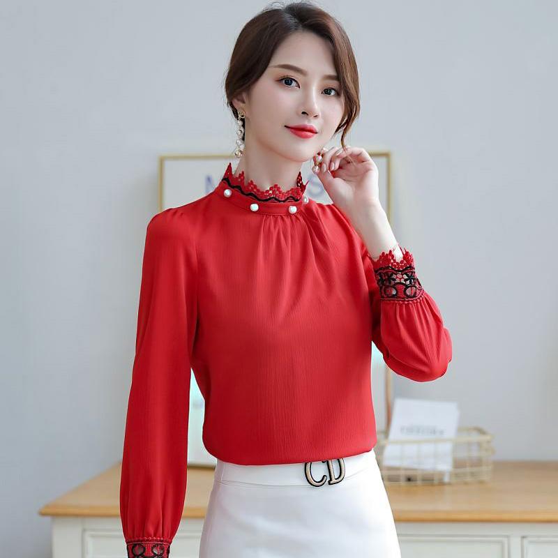 2019秋季新款时尚女装复古港味白衬衫女长袖立领气质修身雪纺衬衣