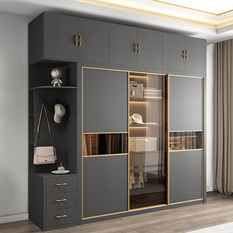轻奢推拉门衣柜家用卧室现代简约整体组装收纳玻璃门移门大衣柜