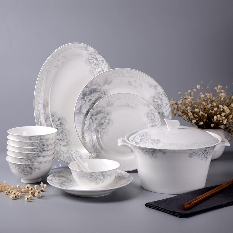 墨色 景德鎮陶瓷釉中彩餐具套裝碗盤中式 釉下彩骨瓷碗碟套裝家用