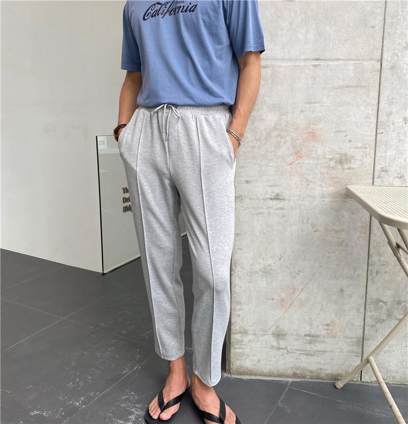 夏季薄款纯色休闲九分裤韩版小直筒高级垂感运动休闲裤时尚个性潮
