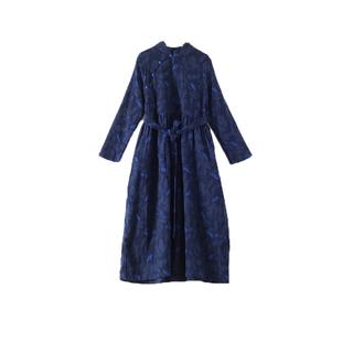 民族風棉麻連衣裙秋冬加絨加厚高端洋氣旗袍改良復古過膝長裙袍子