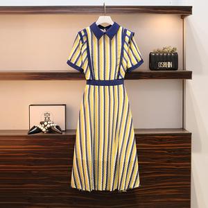 大码女装2020夏季新款胖妹妹mm气质减龄显瘦条纹短袖裙遮肚连衣裙