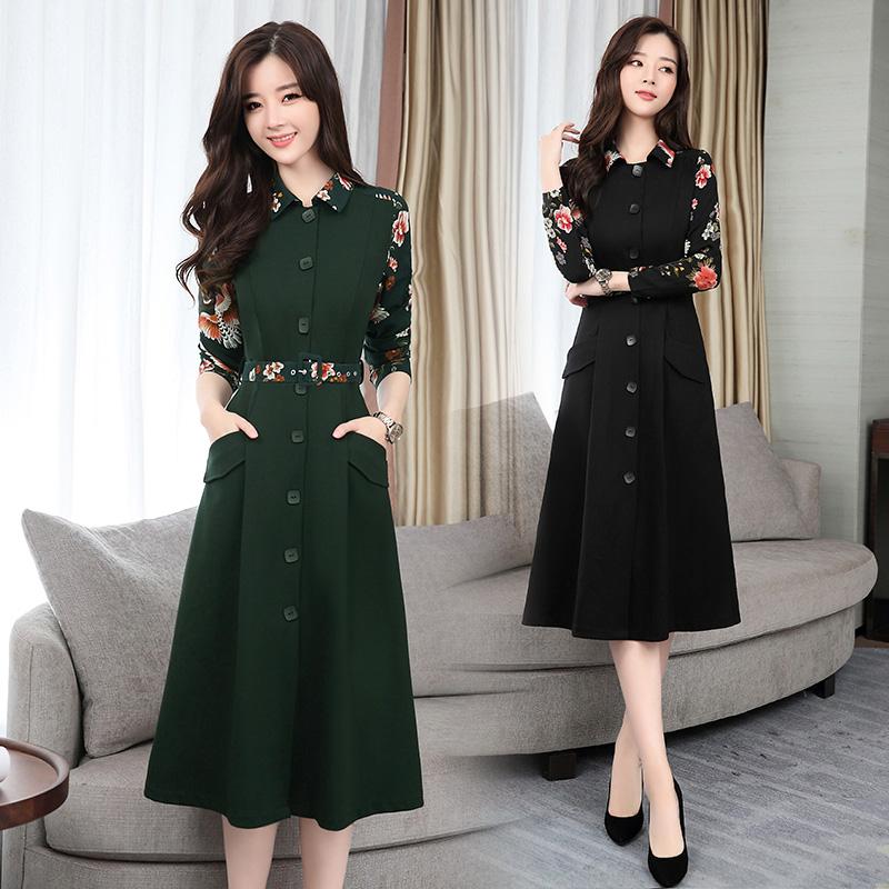 Темперамент однобортный талия платье 2018 весна новый секретарь юбка печать рубашка стиль минимума юбка женщины