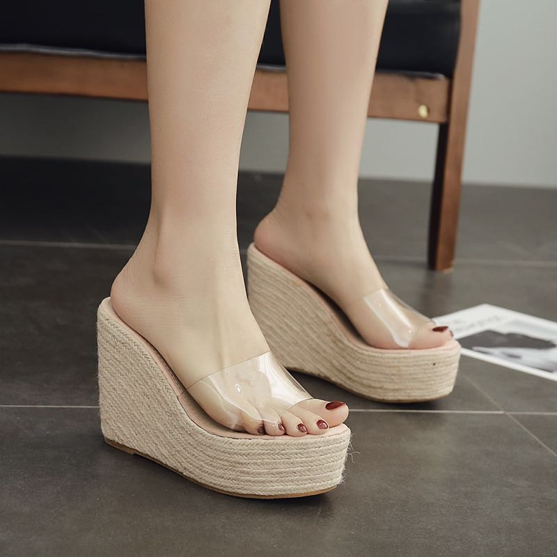 12cm slope heel super high heel sandals waterproof platform muffin thick bottom transparent fish mouth Shoes Sexy straw slippers