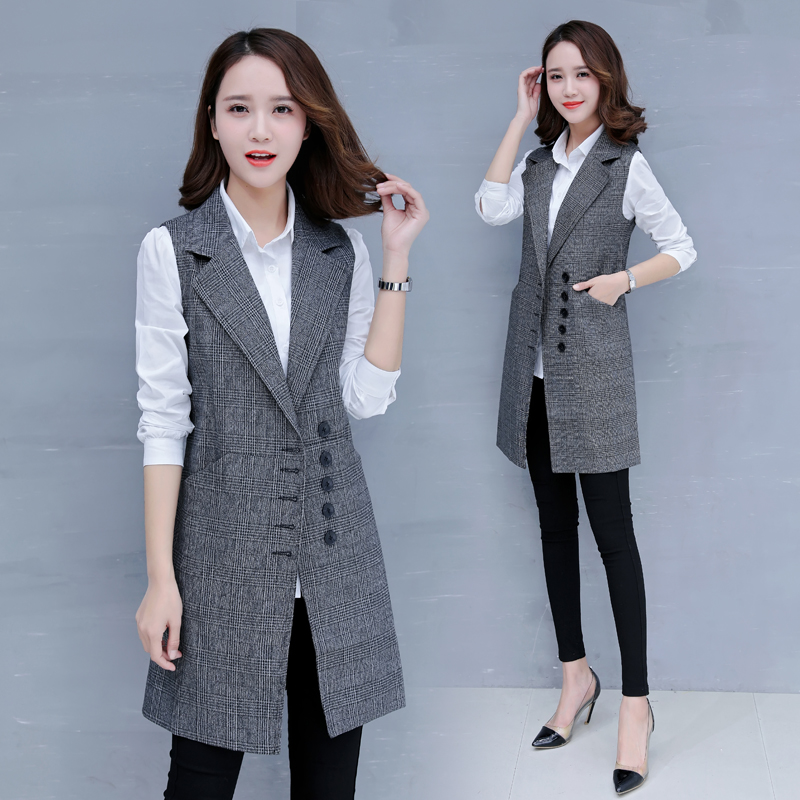 Plaid suit waistcoat womens spring and autumn vest 2019 new slim sleeveless Korean fashion womens coat medium length