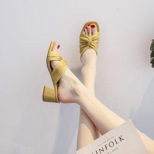 2020年夏季时尚新款网红中跟粗跟夏天半拖鞋外穿懒人高跟凉拖鞋女