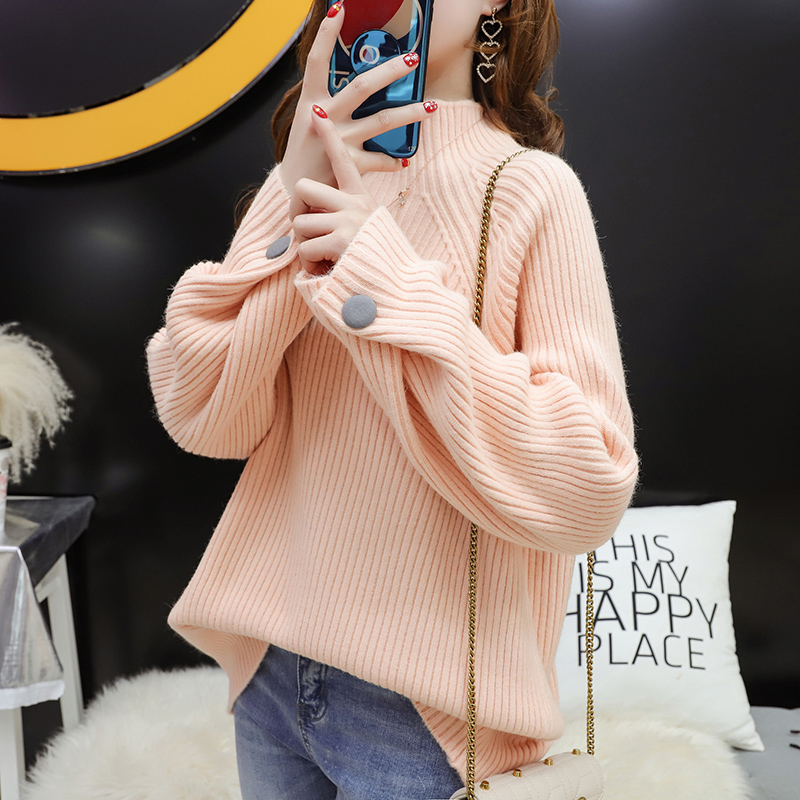 Sweater womens half high collar loose Korean autumn winter 2020 new versatile foreign style bottomed sweater short top thick