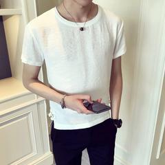 麻料夏装中国风休闲圆领短袖 青年日常轻盈T恤衫Q7P35