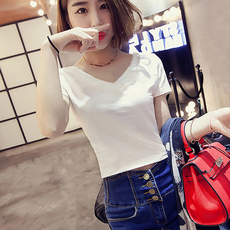 热销457件正品保证夏季短款V领T恤女短袖韩版修身高腰露脐上衣白色紧身性感肚脐体恤