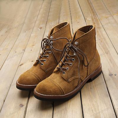 琪宸泓翼阿美咔叽手工固特异8113翻毛皮美式复古军工装靴马丁沙漠