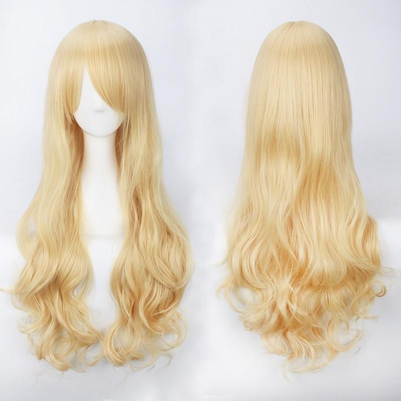 wig欧美ins时尚女生金色淡金色米白长假发80cm长卷发动漫cos假发图片