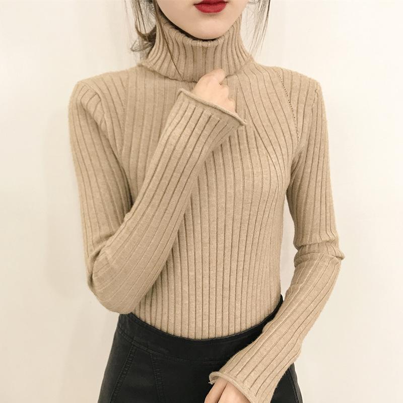 秋冬2018新款白色超火加厚加绒高领毛衣女套头短款修身针织打底衫