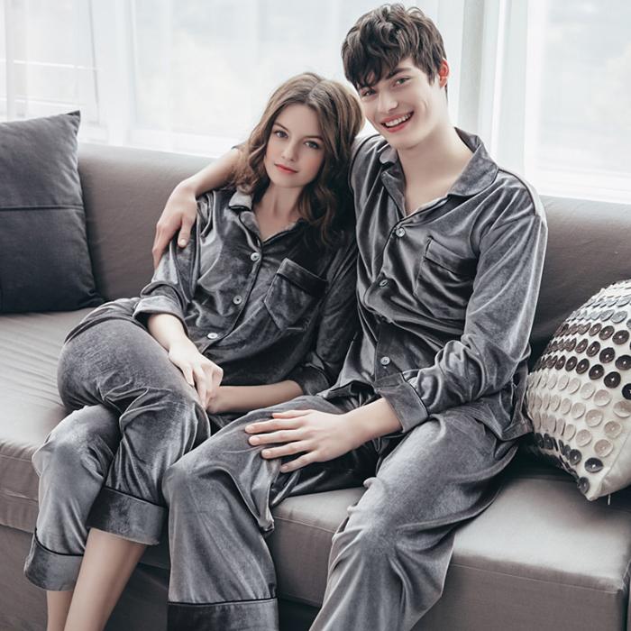 春秋新款金丝绒双长开衫纯色简约情侣睡衣宽松休闲舒适家居服套装