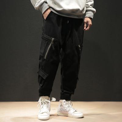 春季大码哈伦工装裤男国潮美式宽松休闲拉链纱卡束脚裤子K308/P65