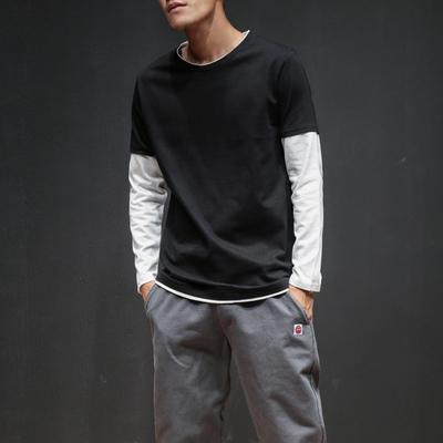 2018春装男士日系长袖T恤黑墙打底?#26469;?#30721;男休闲假两件T恤T126/P30