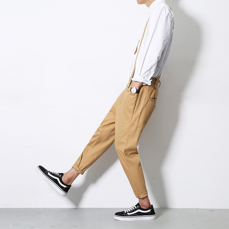 Original autumn casual pants mens fashion Harlan suspender pants mens slim Pants Khaki k160 / P50