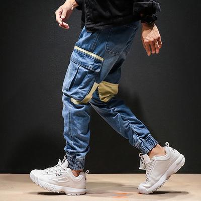 秋季日系宽松撞色拼接水洗做旧大口袋牛仔裤男工装束脚裤K284/P75