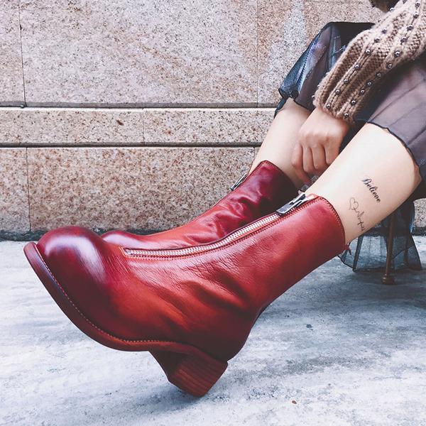秋冬款真皮前拉链短靴女中筒粗跟马丁靴英伦百搭中跟单靴复古倒靴