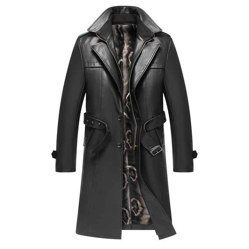 海宁皮衣修身真皮皮衣中长款男士绵羊皮风衣加绒加厚大衣男装外套