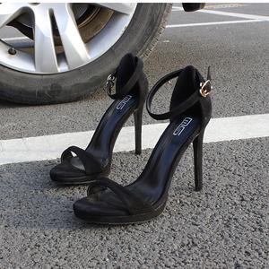 2021新款夏季韩版性感一字带高跟凉鞋气质时尚百搭黑色法式高跟鞋