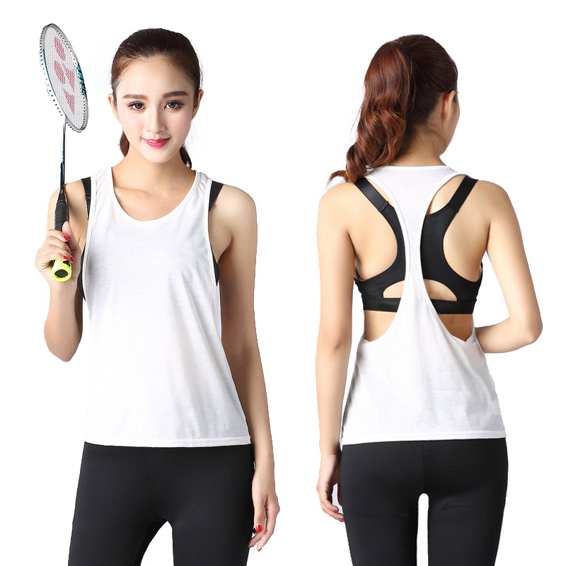 Lightweight breathable fitness suit vest womens sleeveless sexy running cotton loose large Yoga Top Sweatshirt