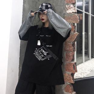 初秋INS慵懒风上衣宽松版bf假两件长袖t恤春秋韩版薄款卫衣女酷潮