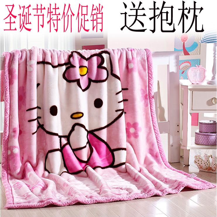 hello kitty毯子珊瑚绒拉舍尔凯蒂猫毛毯加厚单人学生儿童卡通1.5