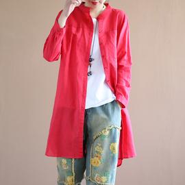 代勒春季新款纯色棉麻衬衫女立领大口袋宽松休闲显瘦中长款衬衣女