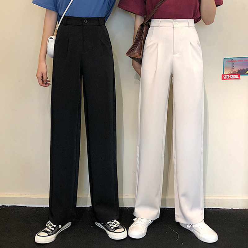 Slim casual pants suit, wide leg pants, womens high waisted new style straight tube mopping pants, cool and versatile, all cotton fit