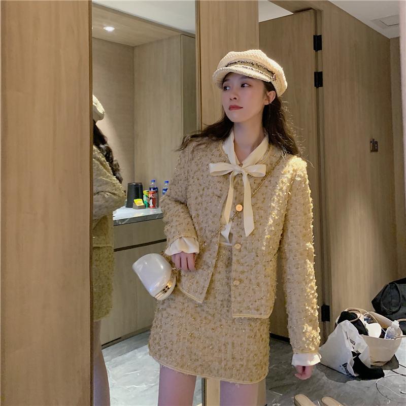 实拍~实价 轻奢重工纱金小香风气质外套+半身裙+法式复古衬衫