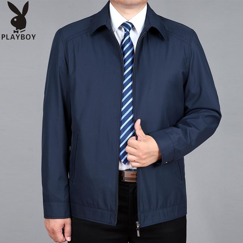 プレイボーイ春秋中高年男性の襟付きジャケット、中年のゆったりしたサイズのカジュアルジャケット、父の服