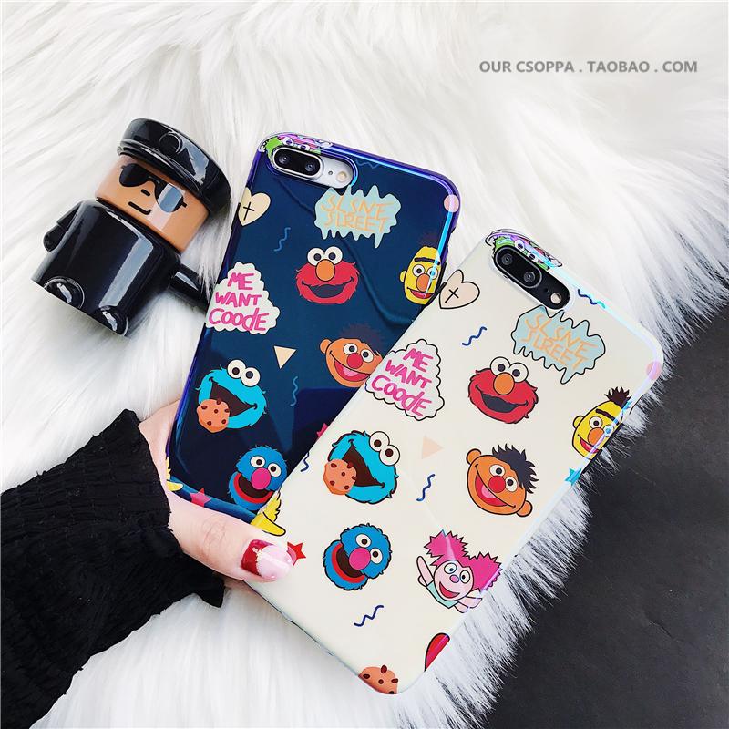 可爱卡通镭射蓝光芝麻街苹果x手机壳iphone7plus软保护套6s创意女