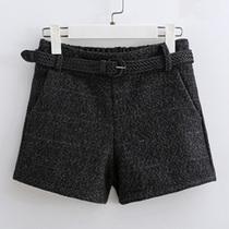 毛呢短裤女冬装胖mm2019新款大码女装松紧腰阔腿打底裤外穿女靴裤