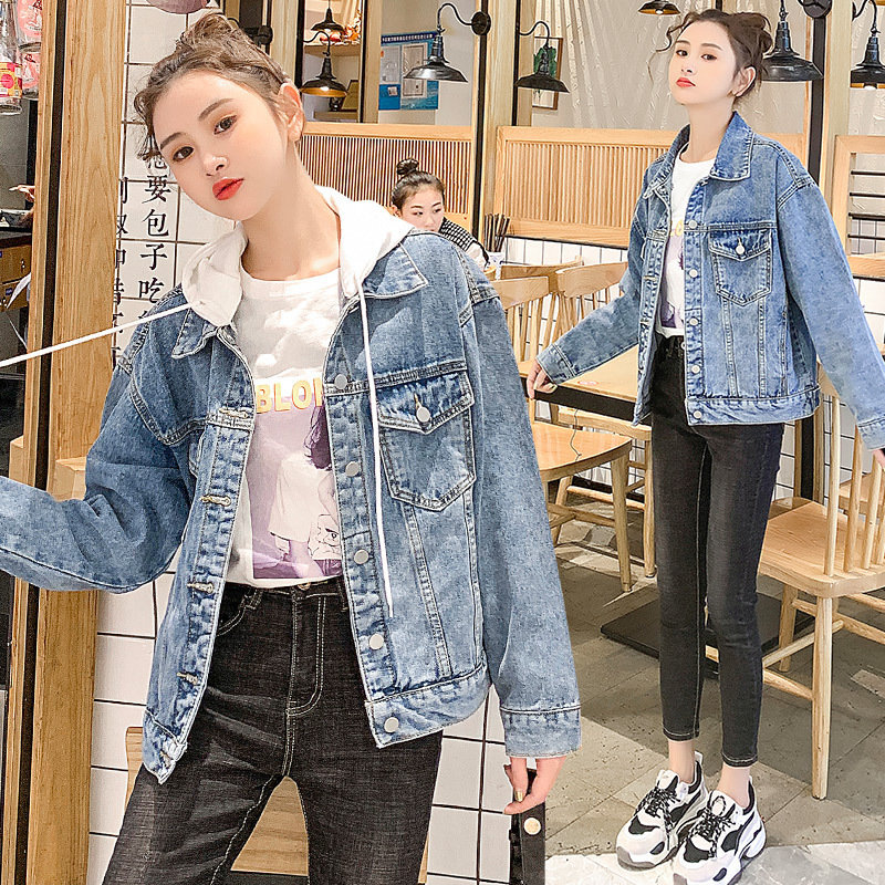 Denim coat female 2020 new spring and autumn student Hong Kong Style Jacket Top Female Korean version loose detachable hood