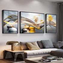 現代輕奢三聯客廳裝飾畫招財麋鹿沙發背景墻壁框高檔鑲鉆晶瓷掛畫