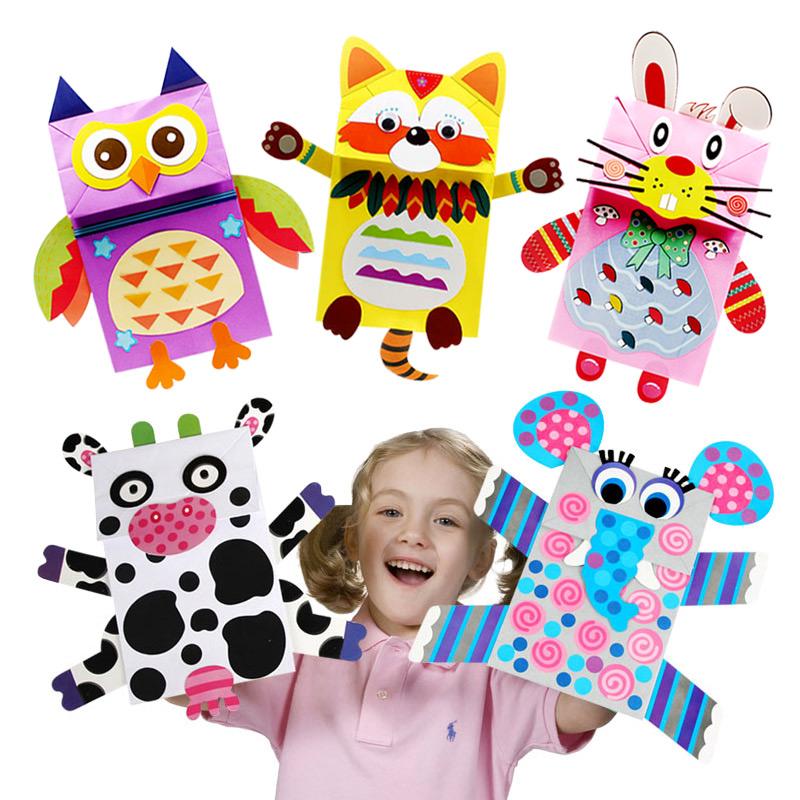 儿童纸袋贴画手偶纸偶手工创意制作材料包 幼儿园手工diy粘贴动物