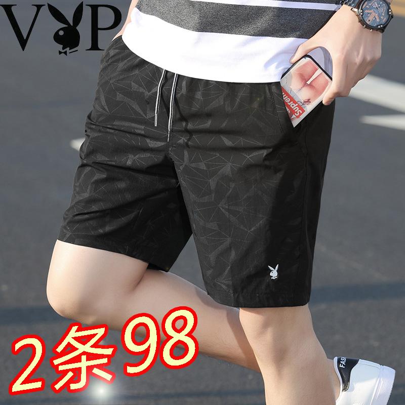 花花公子夏季四分裤男装短裤五分裤运动休闲4分沙滩裤5分潮流外穿