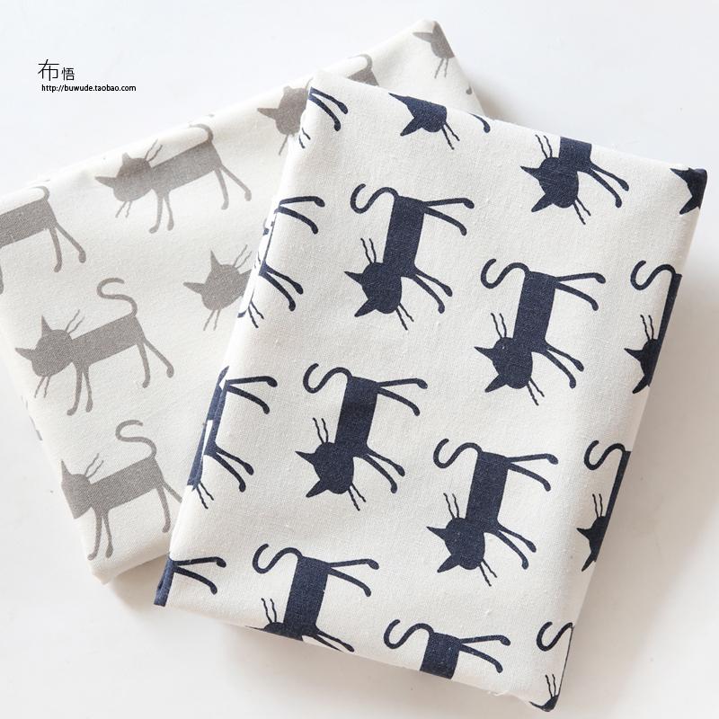 布悟独家 新品 棉麻印花猫咪卡通布料桌布靠枕手工DIY麻布面料