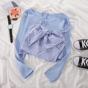 2021夏季抹胸吊带背心内搭打底上衣+针织开衫女时尚两件套套装夏
