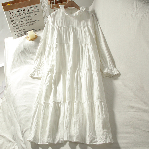 气质宽松白色中长款打底内搭裙子女秋季新款韩版木耳领长袖连衣裙图片