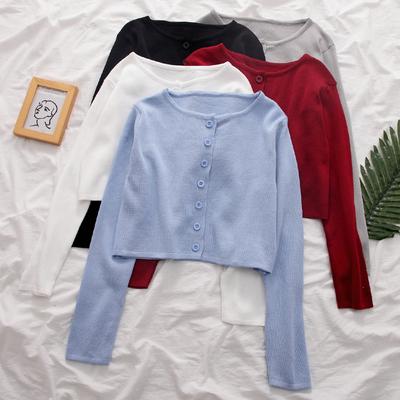 春装2020韩版新款春季薄款修身短款小衫蓝色上衣女针织开衫外套潮