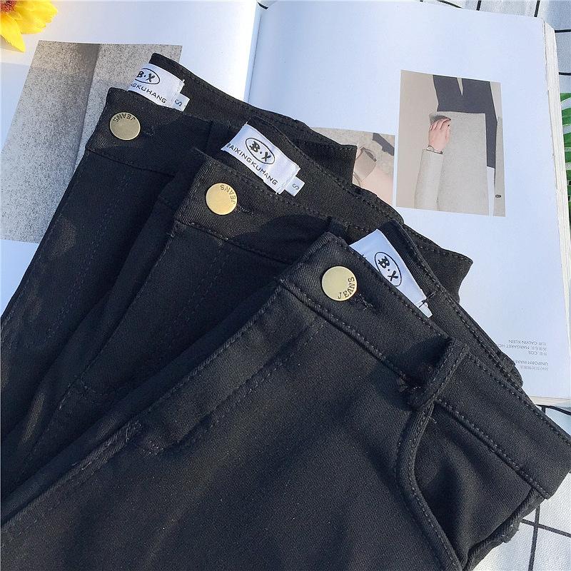 秋冬新品女裤子加绒黑色打底裤女外穿高腰显瘦小脚裤子薄绒不起丝