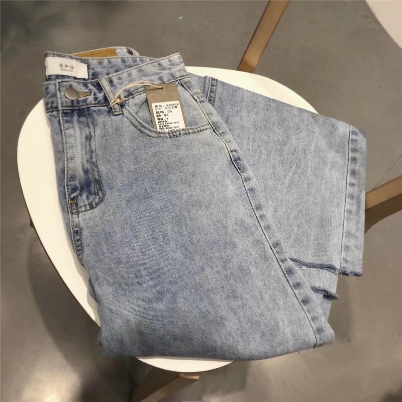 热销177件假一赔十spg浅色直筒休闲高腰夏季牛仔裤