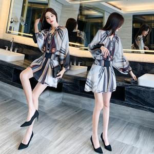 夏装2020年新款女夏法式设计感轻熟风时尚气质雪纺衬衫连衣裙子短
