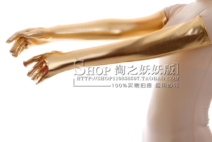 Клей длинные перчатки/золото лакированной кожи сексуальный цельный жесткие чулки / этап аниме COS Показать платье