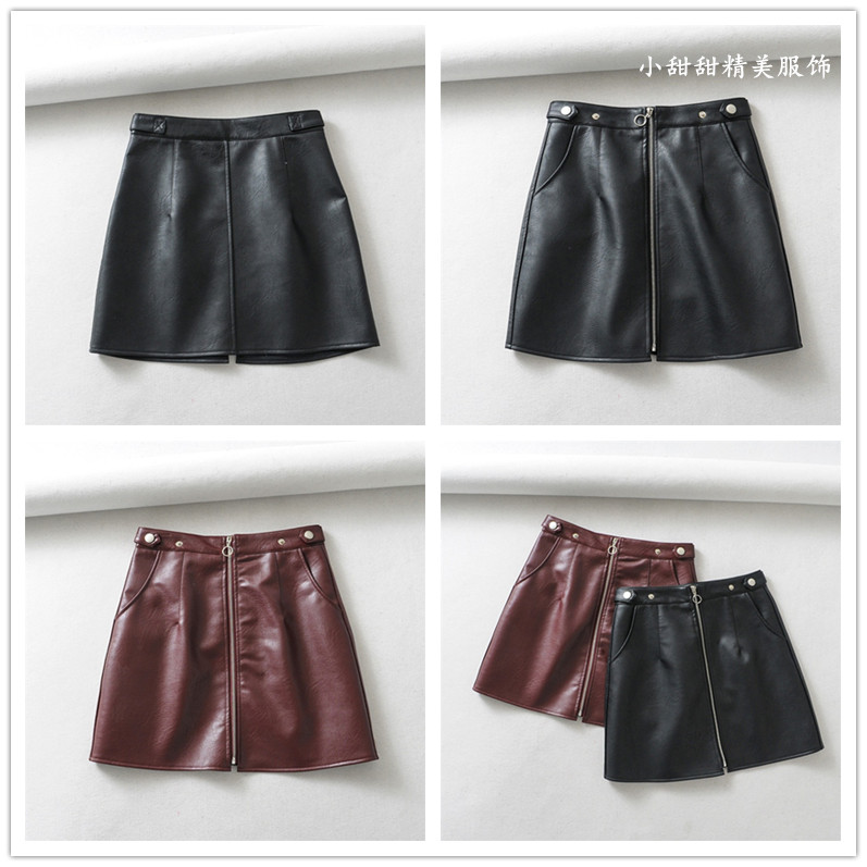 Fashion Korean version net red womens solid color AA Pu skirt pocket fashion middle zipper foreign style half cut short leather skirt